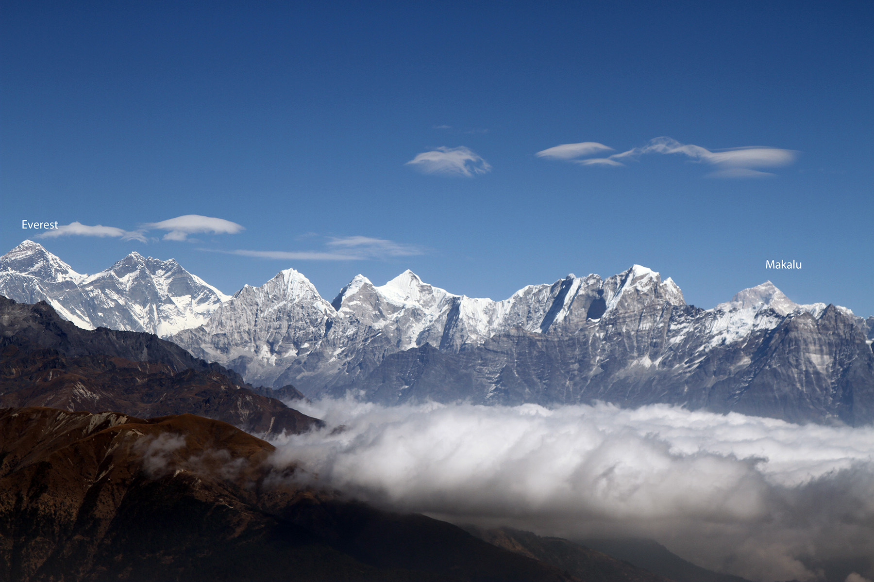 Makalu and Everest from Pikey