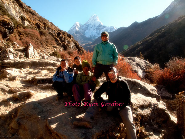 Ryan and staff with Ama Dablam in the background