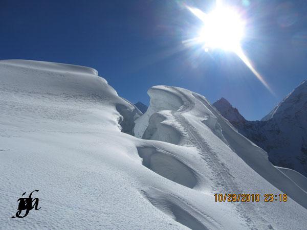 Trail along crevasse