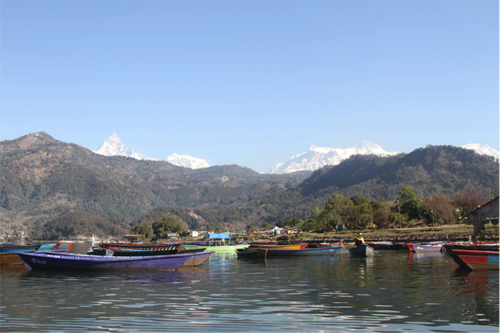 Fewa Lake with Macchapuchare in the background