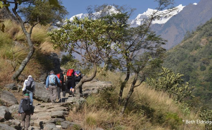 Group on the trail, Tsum Valley Trek