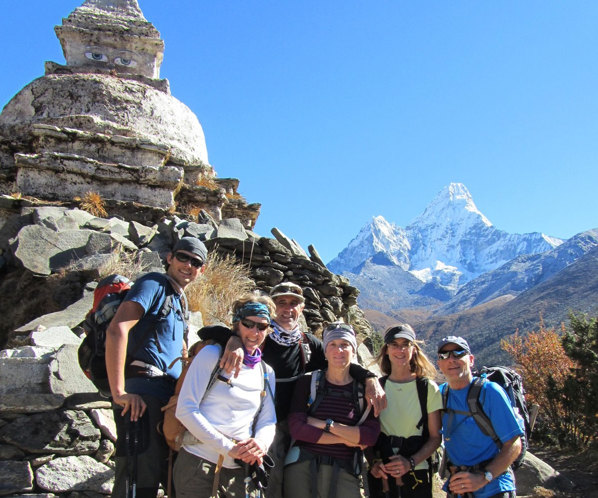 Group near Chorten with Amadablam in background