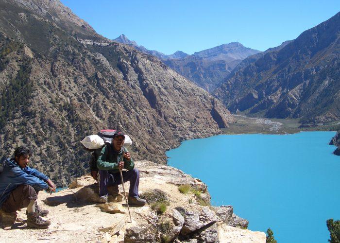 Staff at Phoksundo lake, Nepal