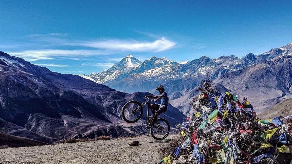 Wheelie near Muktinath, Nepal