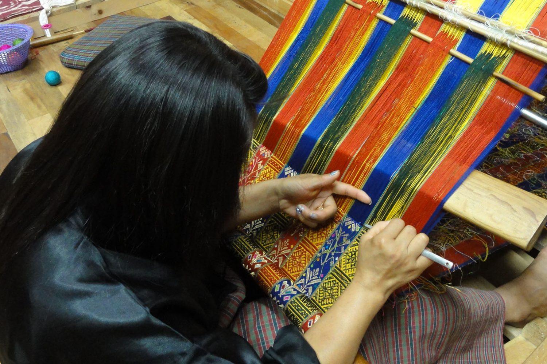 Woman making textile in Bhutan