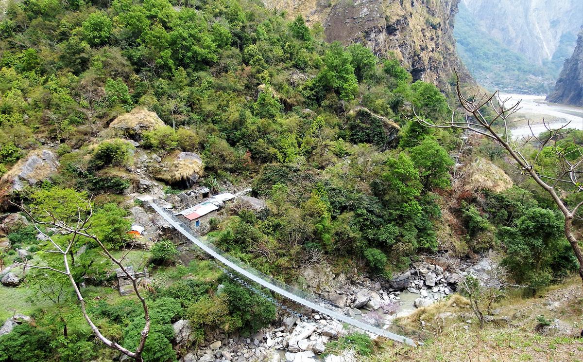 High suspension bridge on Manaslu Circuit Trek