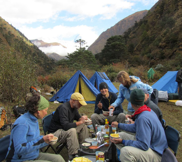 Meal at camp on trek in Bhutan