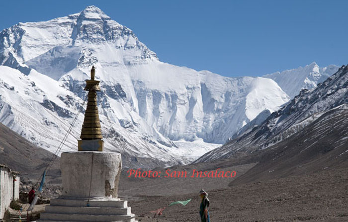 North face of Everest from Rongbuk Monastery
