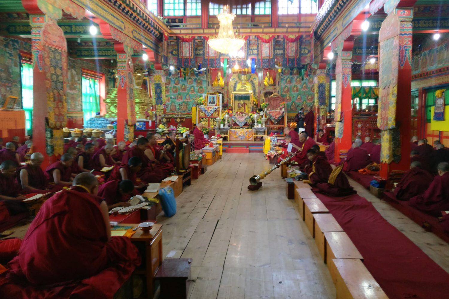 Prayers at Thuktencholing monastery on the Pikey Peak Trek