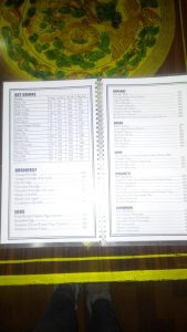 Menu at Lo Manthang