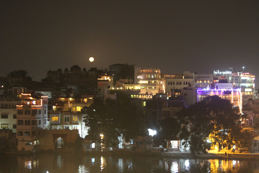moon over Udaipur